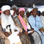*Chief Imam of Akure Land, Sheikh Abdul-Hakeem Yayi Akorede (2nd left), flanked on his right by Seriki Hausa Akure and other guests during the visit.