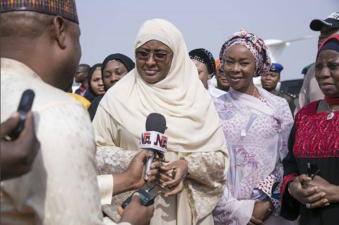 Aisha Buhari back from Umrah, thanks Nigerians for standing by her husband's administration