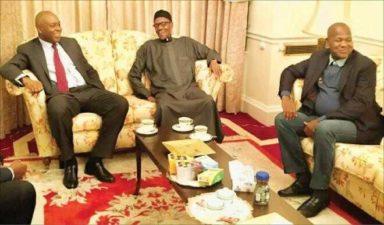 Buhari hosts Saraki, Dogara in London
