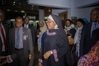 Buhari will soon be back, thanks Osinbajo for his loyalty, Aisha Buhari says upon return from UK