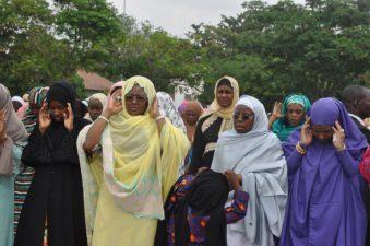 PHOTO NEWS @SALLAH:  Wife of the President, Mrs Aisha Muhammadu Buhari, was at the Guards Brigade, Mambila Barracks to offer Eid el-Fitr prayers, Sunday morning of 25th June 2017. She was accompanied by family members and associates.
