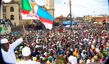 Osun West By-Election: Mammoth crowd as Aregbesola leads APC in mega-rally