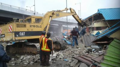 Obalende illegal structures demolition reveals families lived under bridge for 17, 23 years, as Lagos begins 10-day operations against shanties, containerized shops in area
