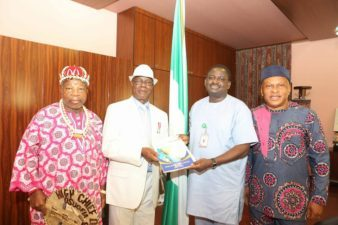 Nigerian ace transporter, Eugene Ojukwu, visits Aso Rock Villa, received by Femi Adesina