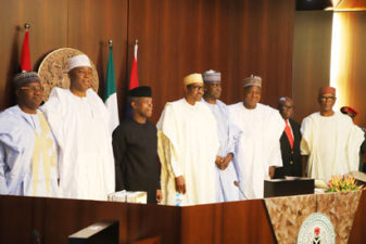 Breaking: Buhari, in 3-assignment at a go, swears-in SGF Boss Mustapha, launches 2018 Armed Forces Remembrance Emblem, presides over FEC