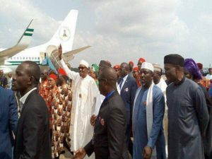 PHOTO NEWS: BUHARI ARRIVES EBONYI, COMMISSIONS PROJECTS, CONFERRED 2 CHIEFTAINCY TITLES OF ENYIOMA 1 OF EBONYI AND OCHIOMA 1 OF NDIGBO, IN ABAKALIKI