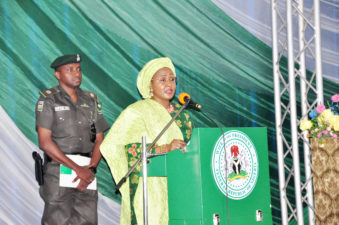 """Women's Day Celebration: Buhari's wife launches """"Leave our daughters alone"""" campaign, to end schoolgirls abduction, women's plight in Nigeria"""