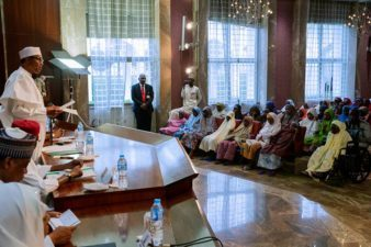 Buhari in joyful mood, formally announces to the world 107 Dapchi schoolgirls have been released, receives them in Villa