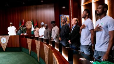 President Buhari's Remarks When He Receives Super Eagles on Their Way to FIFA World Cup 2018 in Russia