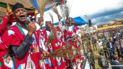 "Ekiti Election: Osinbajo, Oyegun, Tinubu, Badaru Abubakar, Yahaya Bello, others storm Ado-Ekiti for Fayemi, as Tinubu tells Ekiti residents to ""get ready to give PDP red card"""