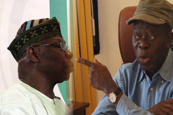 Scrutinise us when we talk from both sides of the mouth, Oshiomhole exposing Obasanjo challenges Nigerian Media, says he's recruiting tired legs for third term agenda