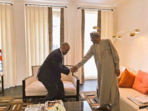 BREAKING: PDP's Senate Minority Leader Godswill Akpabio meets President Buhari in London