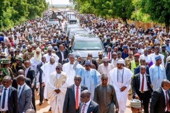 Nigeria's making steady progress towards food sufficiency, President Buhari says as he marked Eid-ul-Adha with prayers, 800 meters walk