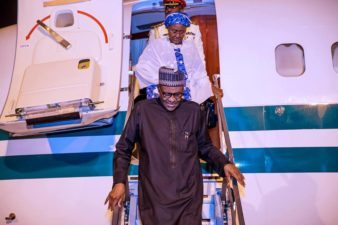 Buhari arrives Abuja, visits injured Nigerian Air Force pilots in hospital