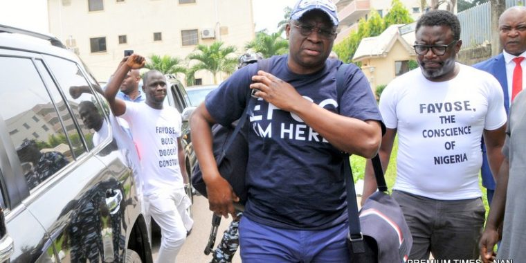 N4.7b Fraud: Fayose ushered into EFCC interrogation room, confronted with allegations of money laundering