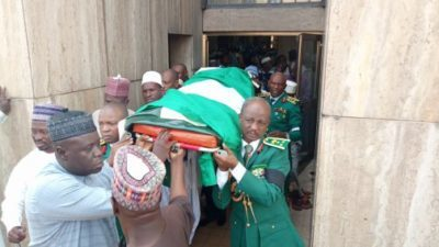 Murdered Army General, Idris Alkali's funeral held in National Mosque amidst tears, buried in Abuja