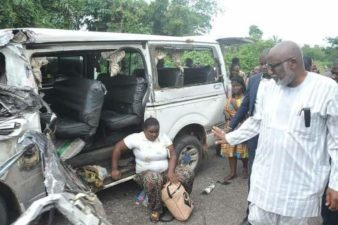 Photo News: Ondo governor stops to assist accident victims