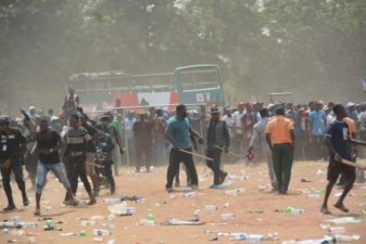 BREAKING: APC campaign flag-off ends by violence in Lagos, Area Father, MC Olu Omo, stabbed