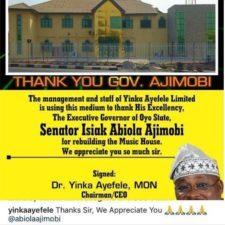 Ayefele thanks Gov. Ajimobi for rebuilding Fresh FM Music House