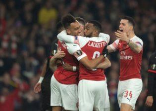 Arsenal thrash Rennes 3-0 to reach Europa quater-finals