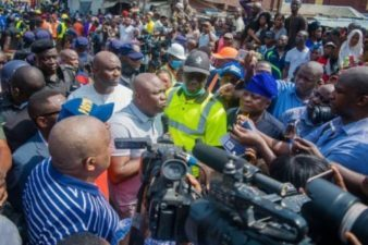 Building Collapse:  Governor Ambode visits scene of accident, as Deputy visits injured pupils in hospital