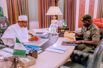 PHOTO NEWS: President Buhari receives security briefings from his Service Chiefs