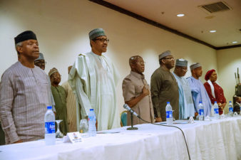 Pictorial representations as President Buhari attends Joint Meeting of APC NWC, APC Governors, APC NASS Caucus in Abuja on Monday 10th June 2019