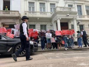 SHIITES GROUP: Nigerian protesters storm Iranian Embassy in London, warn Asian country to stop sponsoring terrorism in Nigeria