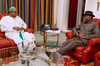 Goodluck Jonathan visits President Buhari in Aso Rock